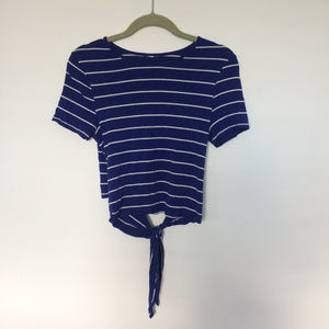 Tops - Navy and White Striped Stretchy Cropped Top